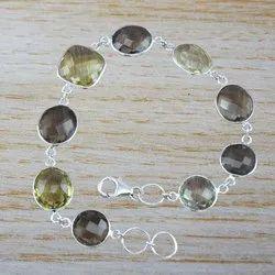 Silver Fashion Jewelry Smoky And Citrine Gemstone Bracelet