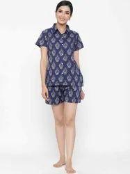 Jaipur Kurti Women Blue Ethnic Print Straight Cotton Sleepwear