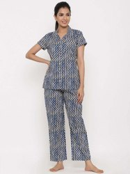 Jaipur Kurti Women Blue Zig Zag Print Night Suit