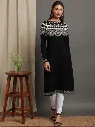 Janasya Women''s Black Woolen Kurta(J0287)