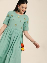 Jaipur Kurti Sea Green Embroidered Flared Dress