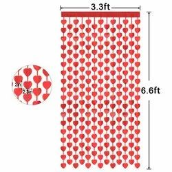 Plain Red Heart Curtain, For decoration, Size: 3 X 6