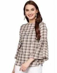 Jaipur Kurti Women Brown Geometric Embroidered Yarn Dyed Cotton Top