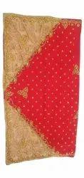 Red, Golden Party Wear Georgette Saree, 6.5 m