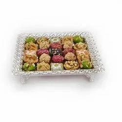 Striking Motif Designed Square Silver Tray