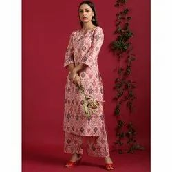 Janasya Women''s Pink Cotton Kurta With Palazzo (Set227)