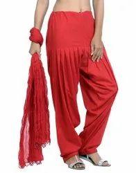 Jaipur Kurti Pure Cotton Red Patiala Salwar and Dupatta Set