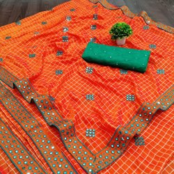 Present Beglory Silk Saree With Mirror Work