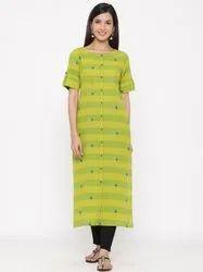 Jaipur Kurti Women Green Woven Design Straight Blended Kurta With Pant