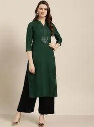 Jaipur Kurti Women Green Solid Straight Rayon Kurta