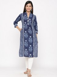 Jaipur Kurti Women Indigo Blue Printed Straight Cotton Kurta