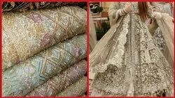 Embroidered 48 Inch Fancy Sequence Net Fabric, For Suit Making Purpose