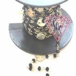 Black Onyx Coin Rosary Chain