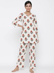 Jaipur Kurti Women White Floral print Straight Cotton Blend Sleepwear