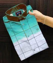 Men Check Cotton Sky Blue Casual Party Wear Shirt