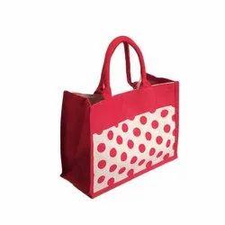 Red Printed Fashion Jute Handbags