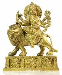 Brass Handicrafts Gold Finish Durga Ma Statue Indian Hindu God Idol Religious Decorative Showpiece