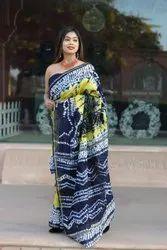 More Woven Chanderi Silk Printed Sari, 5.5MTR