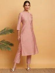 Janasya Women's Pink Poly Muslin Kurta With Pant (J0282)