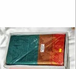 Festive Wear Printed TRT 6 M Check Bindi Saree, With blouse piece