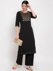 Women Kurta And Pant Set Polyester, Crepe (Black)