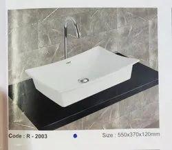 Roxo Rectangular Table Top Wash Basin, For Bathroom, 550X370X120mm