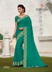 Border Wedding Wear 32506-rama Chiffon Silk Butti Work Saree By Subhash Brand., 0.80 Mtr, 6.3 M (with Blouse Piece)