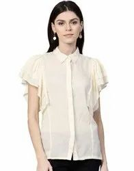 Casual Wear Half Sleeve Jaipur Kurti Women Cream Solid Straight Dobby Top