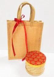 Jute Gift Bag With Bamboo Box Combo