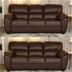 Modern Brown Three Seater Futon Sofa, Living Room