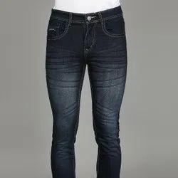 Men Black Regular Fit Faded Lycra Jeans, Machine Wash