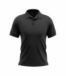 Cotton Half Sleeve Men Black Plain Polo Casual T Shirt