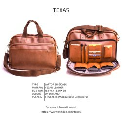 MRH Vegan Leather Texas Laptop Briefcase Bag