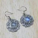 925 Sterling Silver Fine Jewelry Natural Rainbow Moonstone Gemstone Earring