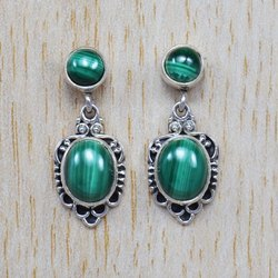 Indian Malachite Gemstone Silver Handmade Jewelry Stud Earring SJWES-38
