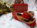 Ladies Handwork Embroidery Punjabi Jutti With Matching Clutch