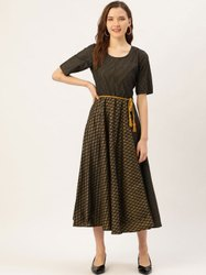 Casual Wear Cotton Jaipur Kurti Black Gold Printed Flared Dress