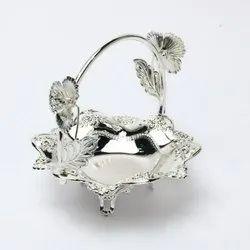 Round Cutwork Silver Basket