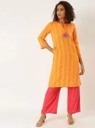 Jaipur Kurti Yellow Yarn Dyed Straight Embroidered Kurta