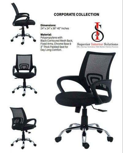 Fabric Pu Seat Office Chair Size Standard Black Rs 2400 Nos Id 22920573497