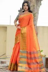 Zari Border Self Weaving Soft Silk Saree
