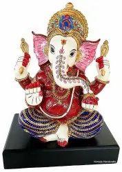 Rasin Handicrafts Handmade Enamel Work Mukut Ganesha Statue Religious With Pawti Stand Figurine