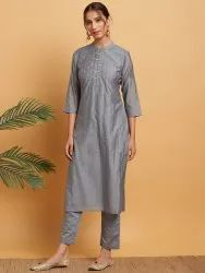Janasya Women's Grey Poly Muslin Kurta With Pant(J0283)
