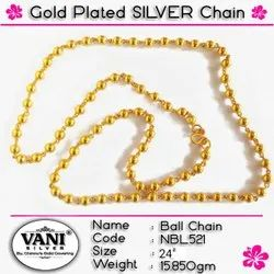 Party Wear Gold Plated Silver Chain, 15.850 Gm, Size: 24 Inches