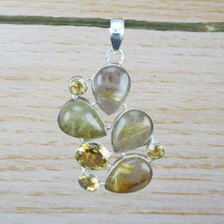 Golden Rutile and Citrine Gemstone 925 Silver Pendant