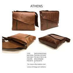 Vegan Leather Brown Athens Messenger Bag, Size/Dimension: 15.5w X 10h X 2b Inch