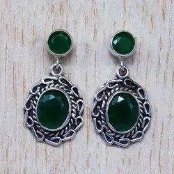 Green Onyx Gemstone 925 Sterling Wholesale Silver Jewelry Stud Earring SJWES-72