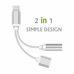 Lightening to 3.5mm Headphone Jack Aux Cable Adapter, 2 in 1 Adapter Compatible with iOS Phone