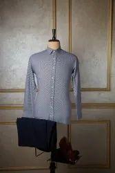 Boros Cotton Navy Blue Diamond Twill Formal Shirt, Machine wash