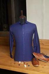 Boros Cotton Navy Blue Shirt